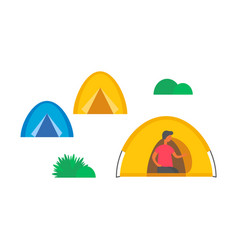 camping city camps and green grass or bushes vector image