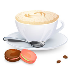 Cappuccino cup with hearts design on top and vector