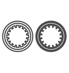 Car clutch plate line and glyph icon car disc vector
