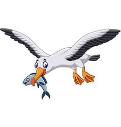cartoon albatross eating a fish vector image