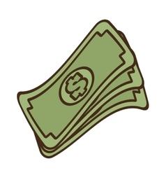 cartoon stack money dollar bills cash vector image