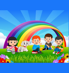 childrens reading book in the park on rainbow day vector image