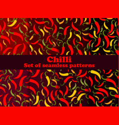 Chili pepper set seamless patterns spice that vector