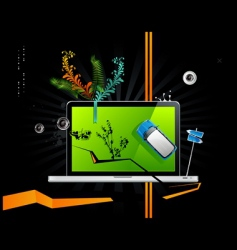 computer with elements vector image