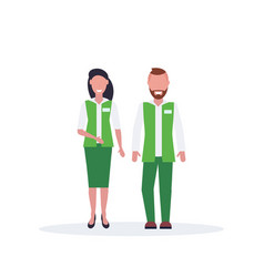 couple man woman supermarket employees standing vector image
