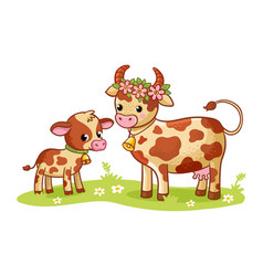 cow with a calf is standing in a green meadow vector image