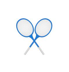 crossed tennis rackets in retro design vector image