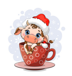 Cute cow with big blue eyes vector