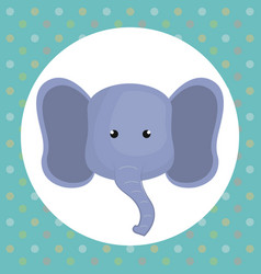 Cute elephant head tender character vector