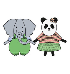 Cute female bear panda and elephant vector