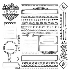 Cute frames and doodle design elements for planner vector