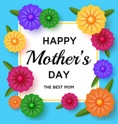 Cute happy mothers day background in paper art vector