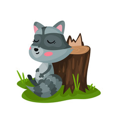 Cute raccoon sitting on green grass near tree vector