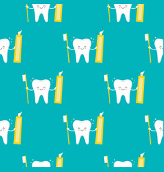 cute smiling tooth character with brush and vector image