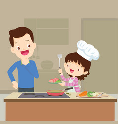 dad looking daughter cooking vector image