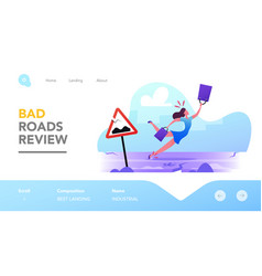 Danger accident on bad road landing page template vector