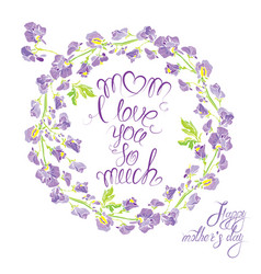 decorative handdrawn floral round frame with sweet vector image