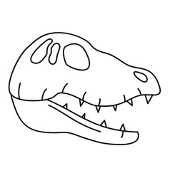 dinosaur skull head icon outline style vector image