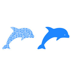 Dolphin collage of binary digits vector