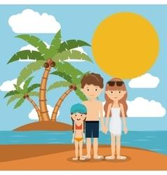 Family beach vacation design vector