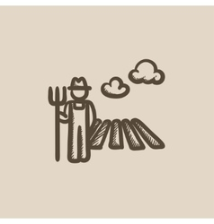 Farmer with pitchfork at field sketch icon vector