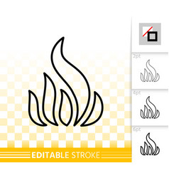 fire bonfire flame simple black line icon vector image