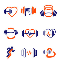fitness logos set vector image