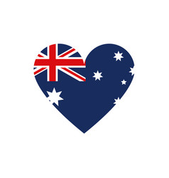 flag shape heart symbol australia icon on white vector image