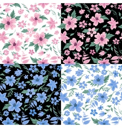 Floral Background Set Flowers Seamless Pattern vector image