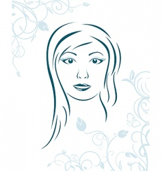 floral background with girl face vector image