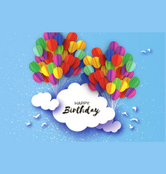 Flying paper cut balloons in paper cut style vector
