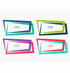 Four geometric frames set in different colors vector