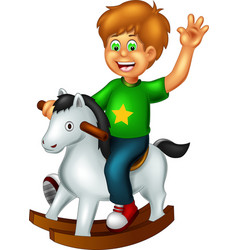 Funny boy playing with horse toy cartoon vector