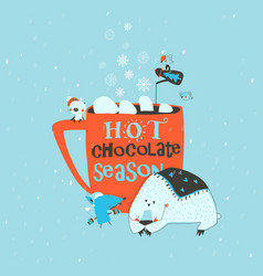 funny cartoon animals sitting near big red cup vector image