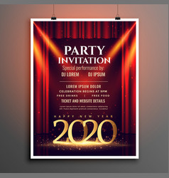 happy new year 2020 party invitation template vector image