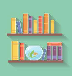 Home library flat bookshelves vector