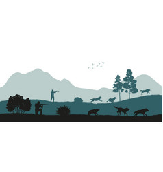 Hunting wolves black silhouette hunters vector