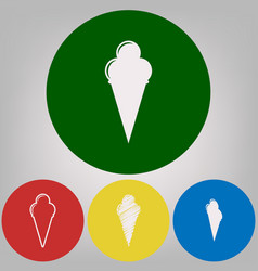 ice cream sign 4 white styles of icon at vector image
