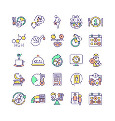 Intermittent fasting rgb color icons set vector