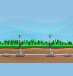 Irrigation system concept banner cartoon style vector