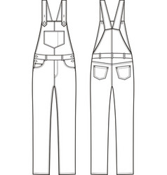 jean overalls front and back vector image