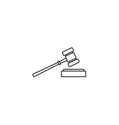 Judge gavel line icon auction hammer sign vector