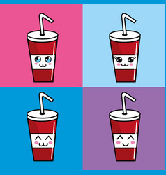 Kawaii setsoda icon with beautiful expressions vector