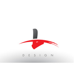 L brush logo letters with red and black swoosh vector