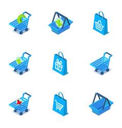 Large purchase icons set isometric style vector
