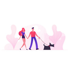 loving couple walking with dog in city park in vector image