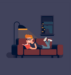man reading book on sofa vector image