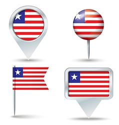 Map pins with flag of Liberia vector image