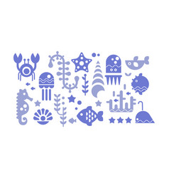 Marine life blue icons set sea creatures vector