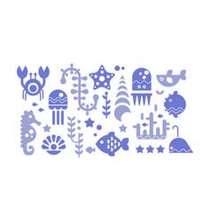marine life blue icons set sea creatures vector image